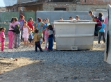 Installation of the first bin in the Roma camp